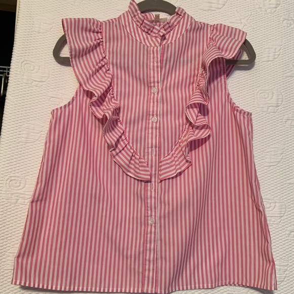 love J Tops - Love j  pink and white striped ruffle size M